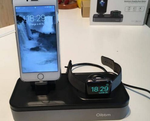 station de charge iphone et apple-watch